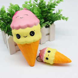 Wholesale Food Photography - DHL FREE Slow Rebound Pendants Gifts Cute ice cream Squishy Torch Ice Cream squishies PU soft Squishies home Photography props Food Toy