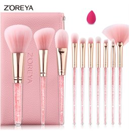 Zoreya make-up pinsel set online-ZOREYA Make-up Pinsel Set Shinny Pink Kristall Innerhalb Lot 7pcs mit Powder Contour Foundation Shading Blending Stirn Pinsel