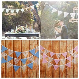 Wholesale pennant flags - 3.2m 12 Flags Lace Pennant Bunting Banner Triangle Shape Hanging Party Wedding Christmas Decor Banners Flags Wedding Decoration KKA5632