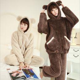deb088602c 2018 New Autumn Winter Women Flannel Pajamas Set Bear Hooded Pajamas  Sleepwear Coral Fleece Thickened Warm Pyjamas Home Clothing