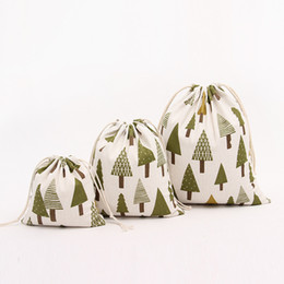 Em estoque!!! Saco do presente de Natal Pure linho lona de algodão com cordão saco sacos com Pinheiro Neve Xmas para presentes dos doces de