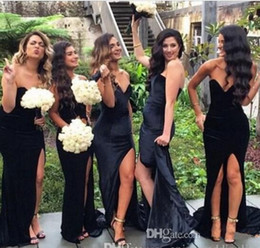 Wholesale Purple Velvet Bridesmaid Dresses - 2018 New Black Velvet Bridesmaid Dresses Sweetheart Mermaid Split Long Maid Of Honor Dress Party Prom Gowns Cheap Custom Made