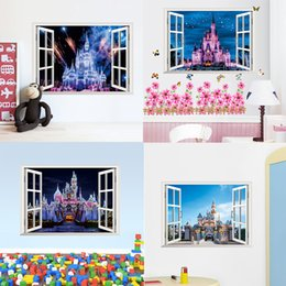 Wholesale Princess Murals - 4 styles newest 3D window view Ancient Princess Castle home decals wall sticker for kids room girls bedroom mural poster