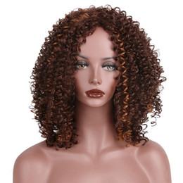 Wholesale Shoulder Length Wigs - AISI HAIR Short Curly Wigs Dark Brown Middle Pert Hair for Woman Ladys Curly Shoulder Length Synthetic Fiber Wig