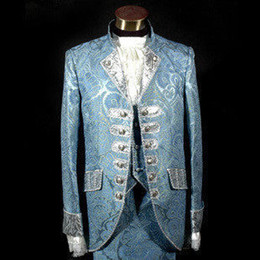 Wholesale Colonial Costumes - Blue Royal Mens Period Costume Medieval Renaissance Stage Performance Prince Charming Fairy Tale William Colonial Stage Costumes