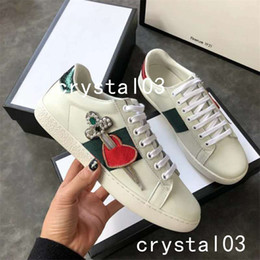 Wholesale red heart art - Luxury Brand Ace Pierced Heart Embellished Leather Sneakers Watersnake-trimmed Loved Blind Crystal Stud Low Top Trainers Shoes 0022
