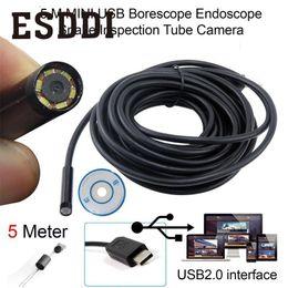 Wholesale Wholesale Professional Camcorders - Esddi Portable 5m USB Boroscope Endoscope Snake Tube Camera+Hook Inspection Professional Snake Inspection Pipe Mini Camcorder