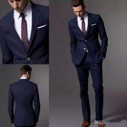 Tuxedo dello sposo navy scuro online-Custom Made Dark Navy Blue Black Suit Suit 2019 Fashion Groom Suit Abiti da sposa per uomo Slim Fit Smoking dello sposo (Jacket + Pants)