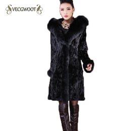 Wholesale Mink Collar Black Coat - 2017 Winter Fur Coat Women Imitation Fox Fur Collar Slim Mink Velvet Long Hooded Warm Large Size Coat Female S-6XL WYT336