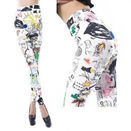 Impresión de leggings de graffiti online-2018 nuevas mujeres leggings de algodón Girasol graffiti imprimir mujeres legging pantalones multicolors sexy casual ropa de moda exterior