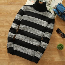 Wholesale Cheap Knit Sweaters - Turtleneck Sweaters 2017 New Men Striped Long Sleeve Pullovers Men Sweater Knitwear Jumpers Jersey Hombre Cheap Winter Sweaters