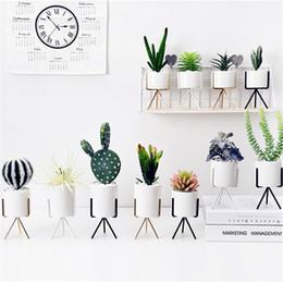 I vasi di fiori si levano in piedi online-Vaso per fiori in ferro battuto Vaso per fiori in ceramica Idroponica minimalismo Vasi per fiori verdi Vaso per fiori in stile metallo 16qh jj