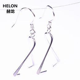 Ohrring halb montiert online-925 Sterling Silber 11mm Perle oder Runde Perle Semi Mount Kronleuchter Haken Ohrringe Frauen Edlen Schmuck