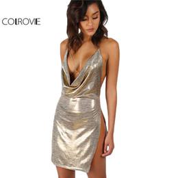 Wholesale xs gold bodycon dress - COLROVIE Metallic Plunge CParty Dress Gold Sexy Slit Backless Women Summer Dresses 2017 Mini Bodycon Draped Slim Club Dress