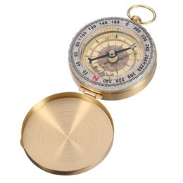 Wholesale Camping Plates Wholesale - Outdoor Old Gold Plated Activities Camping Hiking Portable Brass for Pocket Golden Fluorescence for Compass Navigation