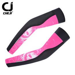 Wholesale Uv Arm Sleeves Women - Pirate Pink Bike Arm Warmers women Cycling Bike Car Moto UV Sun Protection Cuff bicycle Sleeve Cover Oversleeve Sleeves