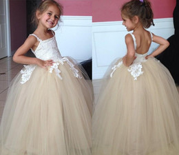 Wholesale Pretty Pictures Flowers - Pretty Spaghetti Straps Flower Girl Dresses Ball Gown Applique Champagne Tulle Gilrs Baby T Birthday Communion Dresses