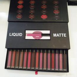 Wholesale icon waterproof - Brand Lip Matte Liquid Lipstick 16 Colors Beauty Makeup Lipsticks Set & Silver 15 Colors Lip Kit Gift Box Trophy Wife Icon Waterproof