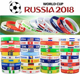 Wholesale Sport Souvenirs - 2018 World Cup Sport Wristband Football Fans Silicone Elastic Wrist Band Bracelet Souvenir Wristband party favor