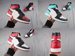 Wholesale New Fur - 2018 New 1 1s High OG Black Toe Black Red Bohelv Men's Sneakers Sports Basketball Shoes Free Shipping