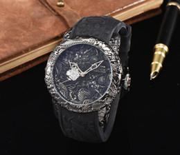 Argentina Nuevos relojes de lujo invicta 3D grabado dragón chino dial reloj de cuarzo relojes relojes hombres marca de lujo Suministro