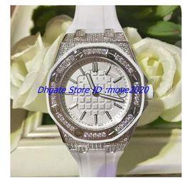 bracelet en caoutchouc Promotion 2018 Nouvelles montres 42 mm Diamond Bezel cadran blanc automatique bracelet en caoutchouc mécanique femmes