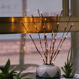 Wholesale led light branches - LED Willow Branch Lamp Floral Lights 20 Bulbs Home Christmas Party Garden Decor Romantic light Novelty Items FFA386 80PCS