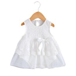 Jahre altes kleid lässig online-New 0-2 Jahre alt Neugeborenen Baby Pure White Lace Prinzessin A-Linie Kleid Baumwolle Casual Sleeveless Print Dress