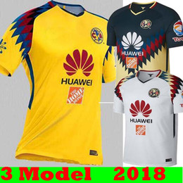 Wholesale Thailand Quality Soccer Jerseys Xxl - Hot Sale 2017 2018 MX Club America Home Away Yellow White Soccer Jerseys 17 18 America Third Away Yellow Thailand quality Football Shirt