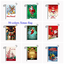 Wholesale hanging outdoor christmas decorations - 50 colors Christmas Garden Flags 30*45cm Outdoor Hanging Polyester Garden Flags Christmas gift Xmas House Decoration MMA354 10pcs
