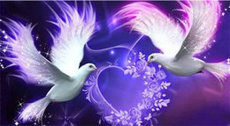 Wholesale Canvas Bird Paintings - Diy diamond painting cross stitch kit rhinestone full round diamond embroidery animal bird pigeon home mosaic decoration yx4133
