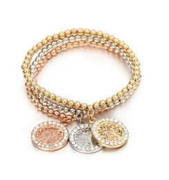 Wholesale Roses Christmas Tree - Crystal Tree Bracelets Gold Silver Rose Gold Beads Mixed Beaded Bracelet Golden Tree Of Life Charm Bracelet