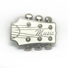 Wholesale ms wear - Western buckle white guitar ancient silver alloy plating process wear-resisting male general belt buckle for 4 ms.0 belt