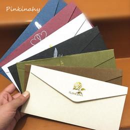Wholesale Black Red Invitations - Wholesale- 20Pcs Vintage Envelopes Gilding Wedding Brown Red White Black Kraft Blank Paper Window Wedding Invitation Envelope Gift Envelope