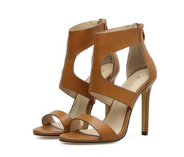 Wholesale Tan Stiletto Shoes - High Heels Sandals New European Station Foreign Trade Fashion Rome Style High Heeled Sandals With Sexy Women Shoes