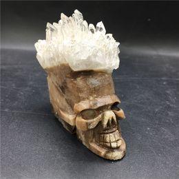 Wholesale Carved Crystal Skulls - 150-200g natural crystal stones decoration clear quartz drusy skulls carved stone head gemstone quartz cluster skull