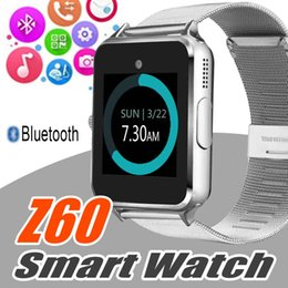 Wholesale Bluetooth Apple Remote - Bluetooth Smart Watch Z60 Wireless Smart Watches Stainless Steel For IOS Android Support SIM TF Card Camera Fitness Tracker with Retail Box