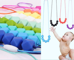 Wholesale silicone jewelry baby - Food Grade Silicone Baby Chew Jewelry Teething Necklace Nursing Jewelry Chewable Teether for Mom To Wear DDA715