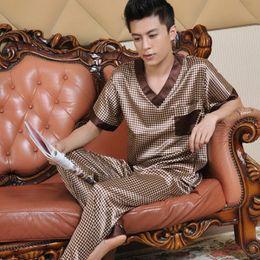 1cf00c34db Male summer short-sleeve silk sleepwear 2016 luxury Pajamas men clothing  casual lounge set