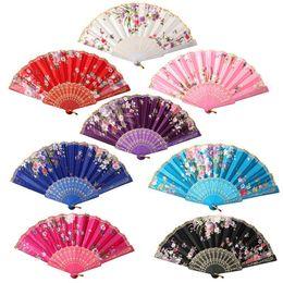 Wholesale Lace Fans Flowers - 23cm Chinese Vintage Fancy Folding Fan Hand Plastic Lace Silk Flower Pattern Party Supplies Gifts For Women