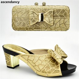 Latest Design Women Shoes and Bag Set In Italy Italian Shoes with Matching  Bags Set Decorated with Rhinestone Women High Heels 585a8d338ee2