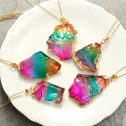 Wholesale sweater rainbow woman - Sweater Chain Irregular Natural Hand Pendant New Rainbow Colorful Crafts Gifts Seven Colour Stone Necklace Free Shipping 9yh V