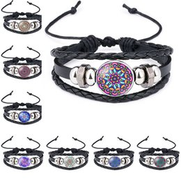 Wholesale mandala gifts - Mandala Charm Bracelets & Bangles Indian religion Yoga Buddhism Time Gemstone leather Bracelet Black Multilayer Women Fashion Jewelry 320056