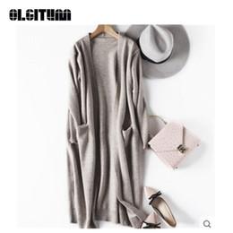 Nueva moda 2018 de punto cardigan otoño invierno estilo de manga larga floja gruesa de punto cardigan suéteres femeninos abrigo largo SW791 desde fabricantes