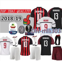 18 19 Milan Soccer Jersey home kit 2018 2019 9  HIGUAIN 10  CALHANOGLU 13   ROMAGNOLI 63  CUTRONE away and third football shirt uniforms e477b5244