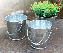 Wholesale green tin buckets - Popular Mini Tinplate Metal Bucket Icing French Fries Tin Pails Candy Basket Party garden Supplies