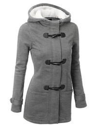 Wholesale Women Winter Pea Coat - Winter Long Sleeve Pockets Warm Casual Outerwear Autumn Plus Velvet Claw Clasp Wool Hooded Coat Women Stretch Classic Pea Coat