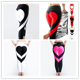 Wholesale Tight Gym Clothes - Yoga Pants Sports Leggings 2018 Sexy Peach Hips Heart Shape Gym Clothes Spandex Running Workout Women Patchwork Fitness Tights fast shipping