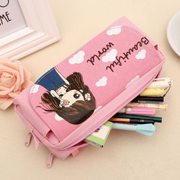 world stationery Promo Codes - Pencil Bag New Cute Beautiful World Canvas Pencil Case Kawaii Girl School Supplies Pencil Bag Pen Bag Pouch Student Stationery