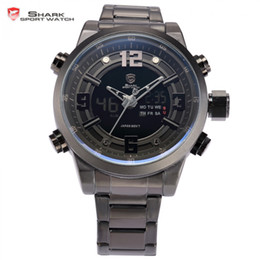 Wholesale Shark Sport Watch Digital - Wholesale-Basking Shark Sport Watch Dual Time Black LCD Date Alarm Steel Band Relogio Quartz Water Resistant Digital Men Wristwatch  SH343